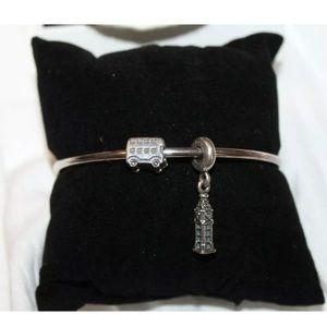 Pandora bangle bracelet w 2 London theme charms